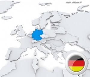 Die Europa-Karte, Deutschland markiert mit Flagge.