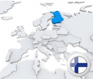 Karte und Flagge von Finnland.