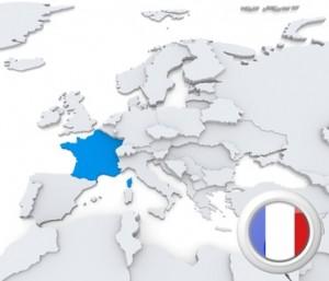 Die Karte samt Flagge von Frankreich.