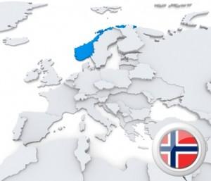 Die Karte von Europa mit Norwegen in Blau und dem Logo in der Ecke.