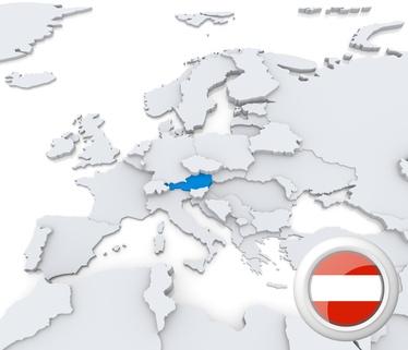 Die Karte von Österreich mit der Flagge am unteren Rand.