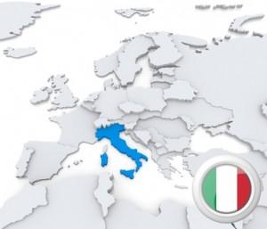 Die Karte von Europa, Italien hervorgehoben.