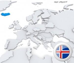 Karte von Europa, Island markiert - mit Flagge.