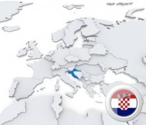 Karte von Europa mit Kroatien markiert.