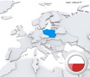 Polen auf der Landkarte mit Flagge.