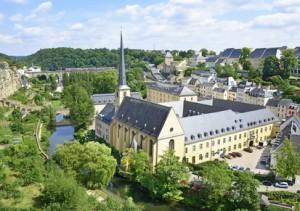 Vogelperspektive auf die Altstadt Luxemburg.