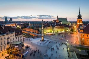 Altstadt von Warschau aus der Vogelperspektive.