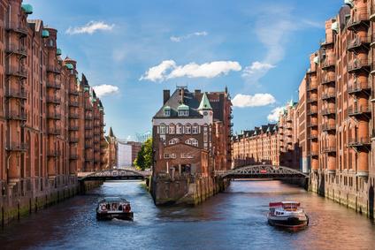 Blick auf das Speicherviertel von Hamburg.